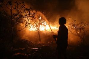 Atuação do Corpo de Bombeiros na região do Rio Mucugezinho, em Lençóis. Foto: Dimitri Argolo Cerqueira