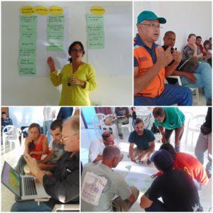 Fotos no sentido horário: Soraya Martins, chefe do PNCD; Paulo Sérgio Menezes, conselheiro da Defesa Civil; trabalho de grupo para definição de plano de ação do CONPARNA-CD; discussão sobre modelo de propagação dos incêndios florestais.